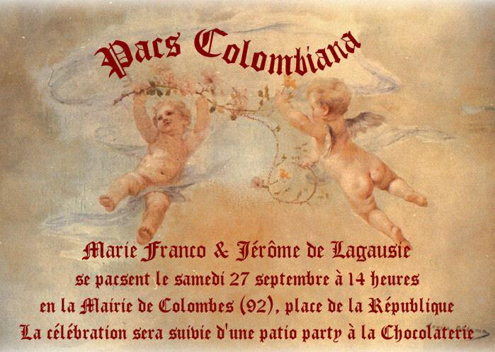 L\'invitation pour la célébration de notre PACS à la mairie de Colombes